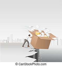 Businessman throwing away a box with papers and files