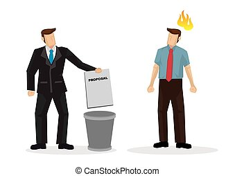Businessman throwing idea, proposal or agreement into the trash can in front of the creator of the project. Isolated vector illustration.