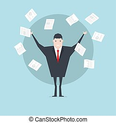 Businessman throws paper. Concept of success in the work.