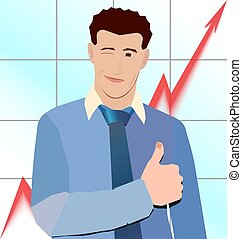 businessman thumb up on the background graphics