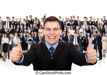 businessman thumb up over big group of people
