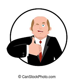 Businessman thumbs up. Boss winks emoji. business men cheerful. Vector illustration