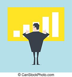 Businessman thumbs up to a growing bar chart.