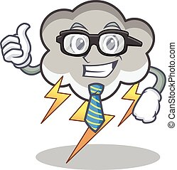 Businessman thunder cloud character cartoon vector...