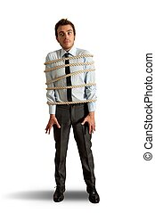 Businessman tied up with rope on white background