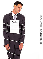 businessman tied with debt