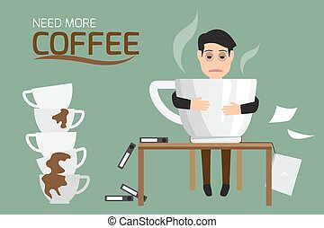 Businessman tired and lazy drink coffee because of drowsiness need relax and need more big coffee cup. (suffer from severe dysentery), Coffee addiction. vector illustration.