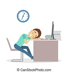 Businessman tired at office.