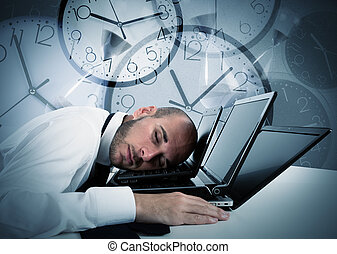 Businessman tired from overwork