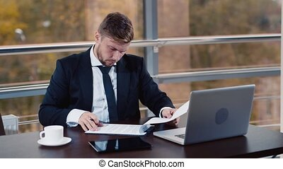 Businessman tired from work