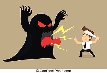 businessman to fight the devil problems and obstacles