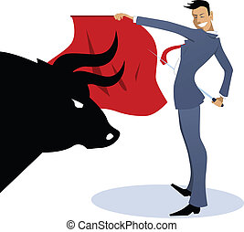 Young businessman posing as a bullfighter with a red cape and a sword, silhouette of a bull head on the front