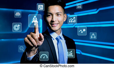businessman touch growth icon