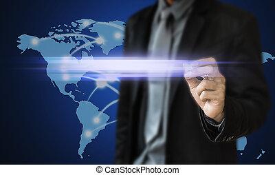 Businessman touch screen