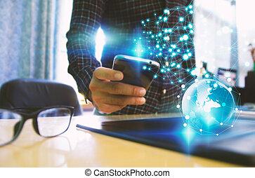 Businessman touch screen smart phone. Social network concept.