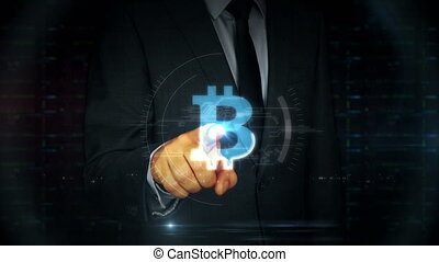 Businessman touch screen with bitcoin hologram - A...