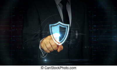 Businessman touch screen with cyber shield hologram - A...