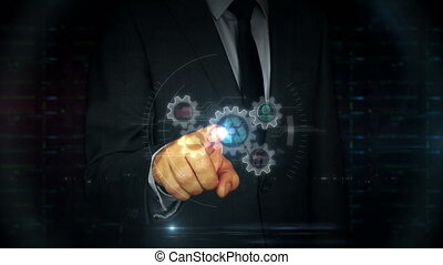 Businessman touch screen with data management hologram - A...