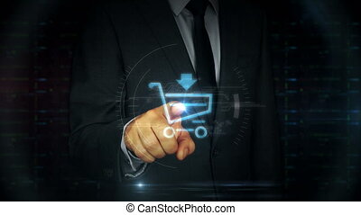 Businessman touch screen with shopping cart symbol hologram