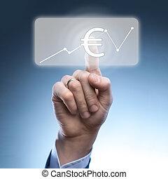 Businessman touched euro icon