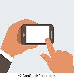 Businessman touches mobile phone with blank screen -...