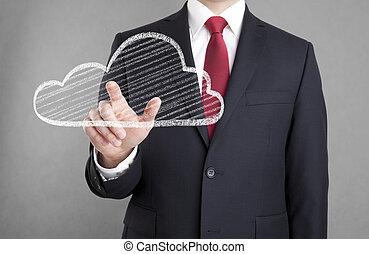 Businessman touching a cloud