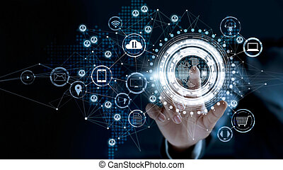 Businessman touching a global network connection, Omni Channel and communications concept