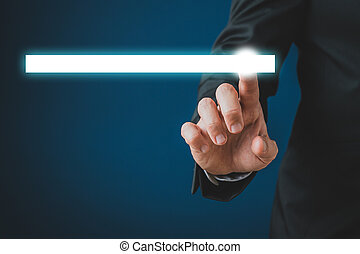 Businessman touching a glowing white search bar