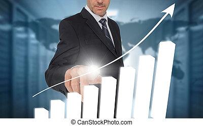 Businessman touching bar chart inte