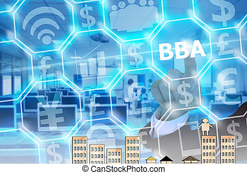businessman touching BBA on modern virtual screen