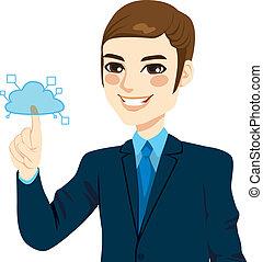 Businessman Touching Cloud Computing