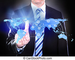 Businessman Touching Connected World Map - Midsection of...