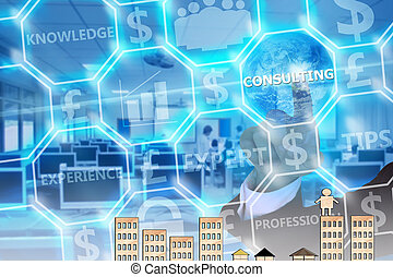 businessman touching  consulting   on modern virtual screen, image element furnished by NASA