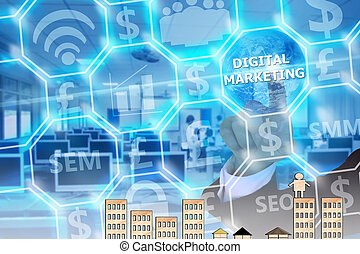 businessman touching  digital marketing   on modern virtual screen, image element furnished by NASA