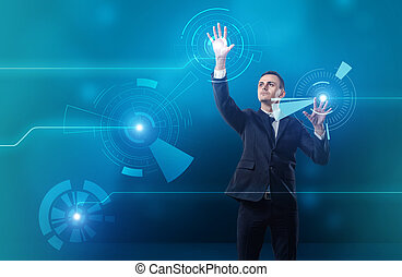 Businessman touching digital touchscreen with both hands