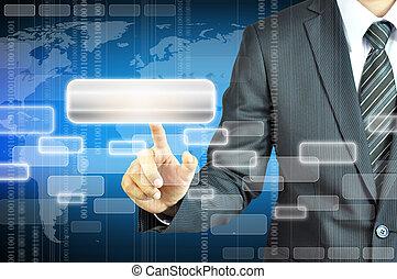 Businessman touching empty tab on worldmap background