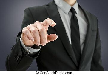Businessman touching empty virtual screen