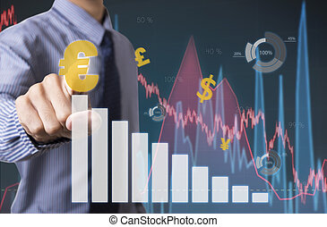 Businessman touching financial analysis graph with euro signs money. concept exchange currency.