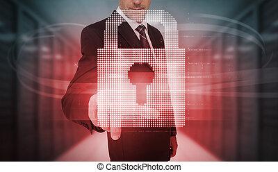 Businessman touching futuristic red