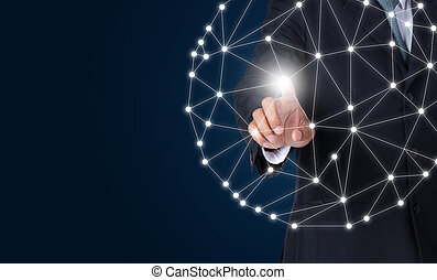 Businessman touching global network and connection data exchanges using digital tactile world interface with finger.