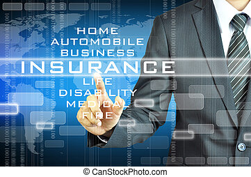 Businessman touching INSURANCE  sign on virsual screen