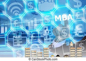 businessman touching MBA on modern virtual screen