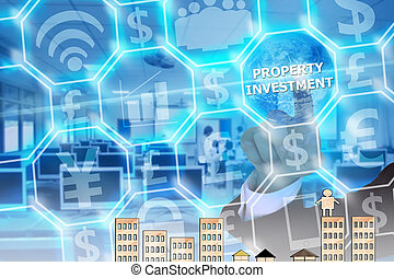 businessman touching  property investment   on modern virtual screen, image element furnished by NASA