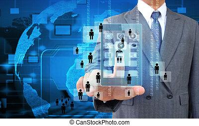 Businessman touching screen on modern mobile smart phone