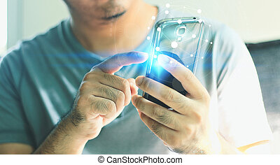 Businessman touching screen on smartphone with global network.