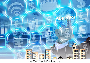 businessman touching support on modern virtual screen, image element furnished by NASA