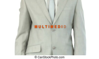 Businessman touching the word multi