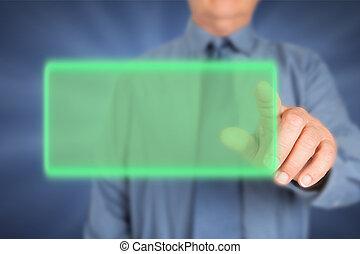 Businessman touching virtual screen.