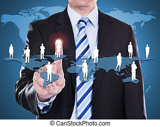 Businessman Touching World Map - Midsection of businessman...