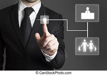 businessman touchscreen choice family and work - businessman...